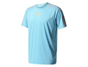 Tenniskleding - Tenniskleding heren - kopen - adidas Barricade tennisshirt heren aqua/oranje