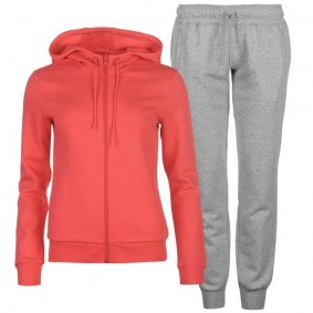 Tenniskleding - Tenniskleding dames - kopen - Adidas Ess Linear trainingspak dames roze/grijs
