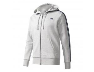 Tenniskleding - Tenniskleding heren - kopen - adidas Essential 3-Stripes Fleece vest heren grijs/zwart