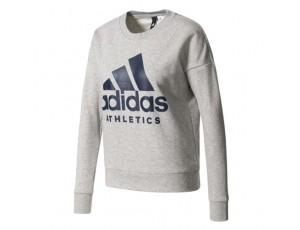 Tenniskleding - Tenniskleding dames - kopen - adidas Sport ID sweater dames grijs/marine