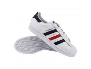 Tennisschoenen - Tennisschoenen heren - kopen - adidas Superstar Foundation heren wit/marine/rood