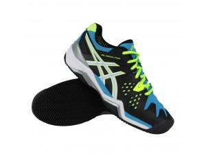 Tennisschoenen - Tennisschoenen heren - kopen - Asics Gel-Resolution 6 Clay tennisschoenen heren zwart/blauw/lime