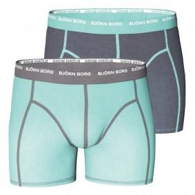 Tennis outlet - kopen - Björn Borg Basic Season boxershorts 2-pack heren grijs/turquoise