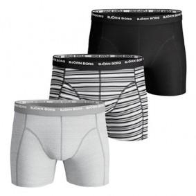 Tennis outlet - kopen - Björn Borg Basic Stripe boxershorts 3-pack heren grijs/zwart