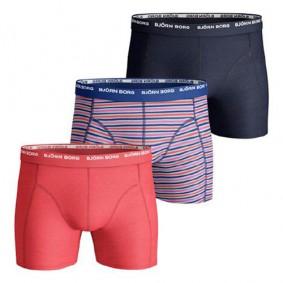 Tennis outlet - kopen - Björn Borg Basic Stripe boxershorts 3-pack heren rood/grijs/blauw