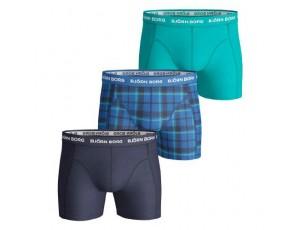 Boxershorts - kopen - Björn Borg Check boxershorts 3-pack heren blauw/turquoise/marine
