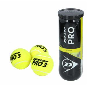 9x Professionele Dunlop Pro-tour tennisballen in koker -