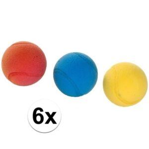 6x Foam/soft ballen gekleurd 7 cm -